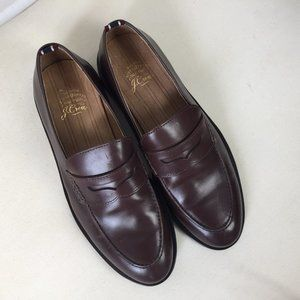 J Crew Men 9 D Brown Leather Penny Loafers Ludlow